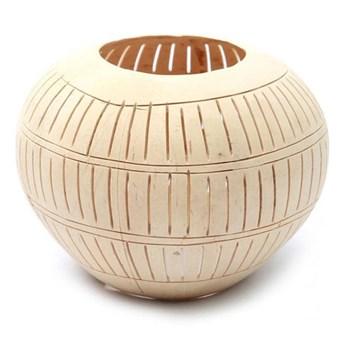 Świecznik Coconut Stripe Natural z orzecha kokosowego BAZAR BIZAR