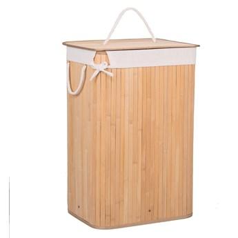 Bambusowy kosz na pranie 72 L z pokrywą naturalny bambus