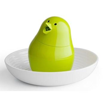 Biało-zielona solniczka z talerzykiem na jajko w kształcie kurczaka Qualy&CO Jib-Jib Shaker