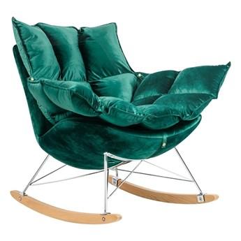 Fotel bujany zielony aksamit / SWING