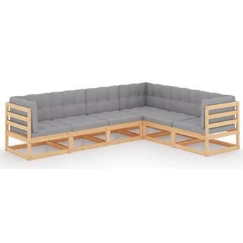 vidaXL 6-cz. zestaw wypoczynkowy do ogrodu, z poduszkami, lita sosna