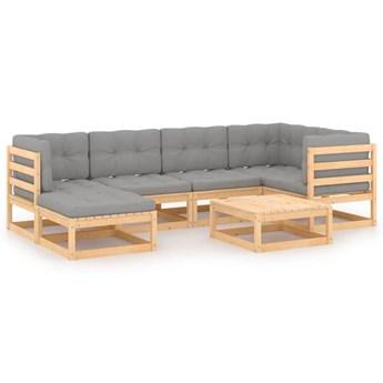 vidaXL 7-cz. zestaw wypoczynkowy do ogrodu, z poduszkami, lita sosna