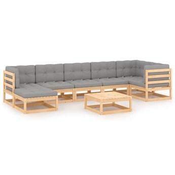 vidaXL 8-cz. zestaw wypoczynkowy do ogrodu, z poduszkami, lita sosna