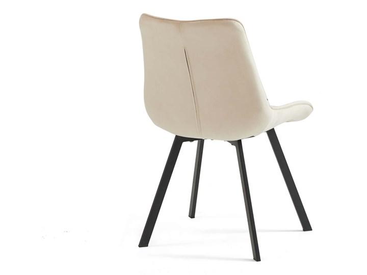 Krzesło tapicerowane beżowe DC-6030 welur #5 Pikowane Tworzywo sztuczne Metal Tkanina Styl Klasyczny