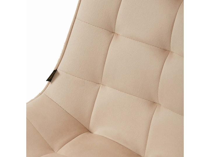 Krzesło tapicerowane beżowe DC-6030 welur #5 Tkanina Tworzywo sztuczne Metal Pikowane Styl Klasyczny
