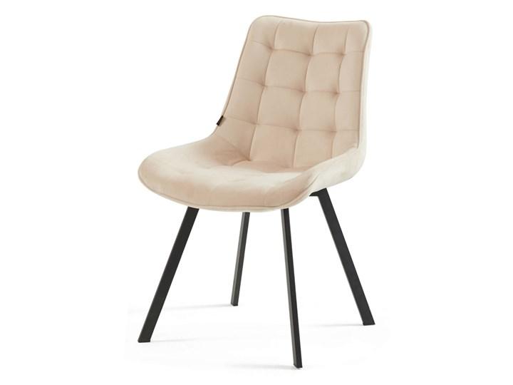 Krzesło tapicerowane beżowe DC-6030 welur #5 Tkanina Tworzywo sztuczne Metal Pikowane Kolor Beżowy