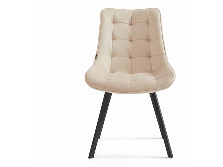 Krzesło tapicerowane beżowe DC-6030 welur #5 Tworzywo sztuczne Tkanina Metal Pikowane Styl Klasyczny