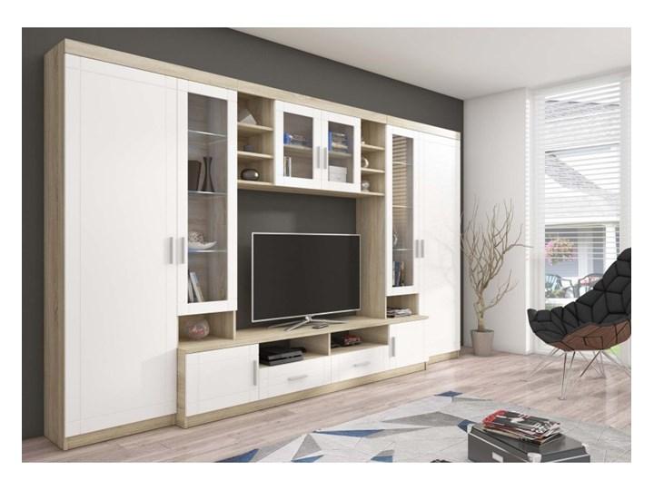 Duża Klasyczna Meblościanka Paris LED Biały/Sonoma Płyta laminowana Kategoria Zestawy mebli RTV