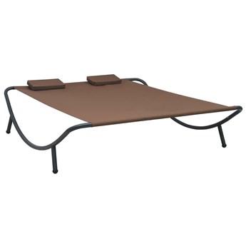 Dwuosobowy nowoczesny leżak ogrodowy brązowy - Prosp