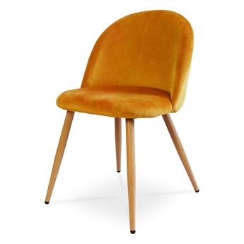 Bettso Krzesło tapicerowane SOLO w nowoczesnym stylu - miodowy / noga dąb