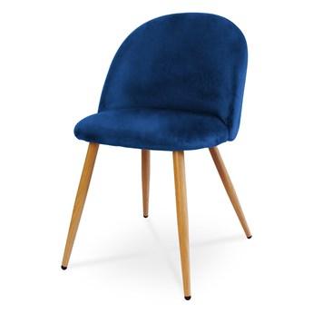 Bettso Wygodne krzesło tapicerowane SOLO - granatowy / noga dąb
