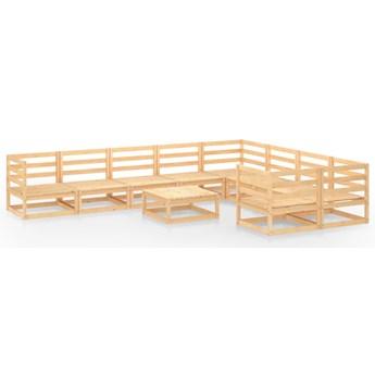 vidaXL 10-cz. zestaw mebli wypoczynkowych do ogrodu, drewno sosnowe