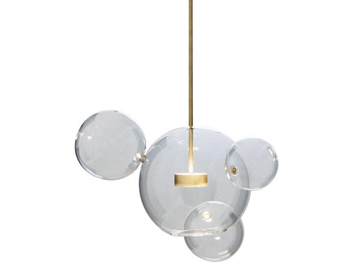 Bubble 4 - duża nowoczesna lampa wisząca - szklane kule pilot, przyciemnianie, 3000-5000K Metal Szkło Lampa z kloszem Styl Nowoczesny Mosiądz Lampa kula Funkcje Możliwość ściemniania