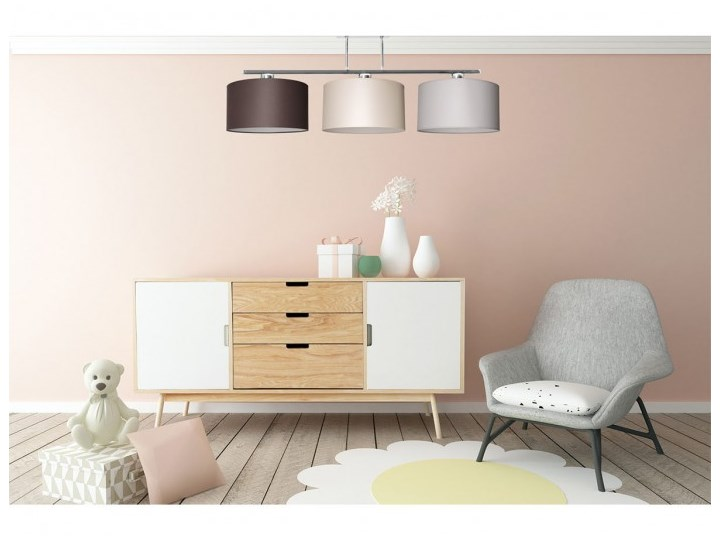 Nowoczesna Lampa z Abażurami Chrom Sufitowa Lampa z kloszem Lampa z abażurem Metal Kolor Biały Kategoria Lampy wiszące