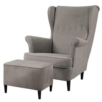 SELSEY Fotel z podnóżkiem Malmo ciemnoszary w tkaninie Easy Clean