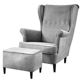 SELSEY Fotel z podnóżkiem Malmo jasnoszary welur