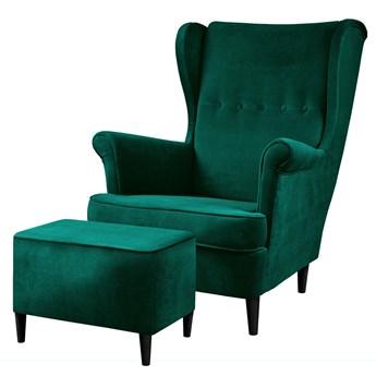 SELSEY Fotel z podnóżkiem Malmo zielony welur