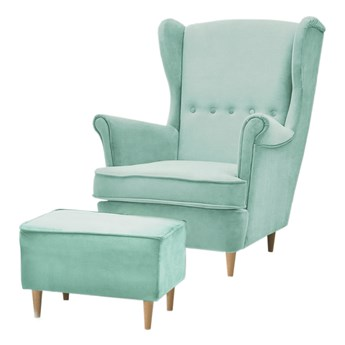 SELSEY Fotel z podnóżkiem Malmo miętowy