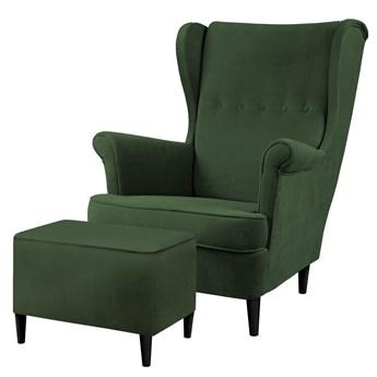 SELSEY Fotel z podnóżkiem Malmo butelkowa zieleń w tkaninie Easy Clean