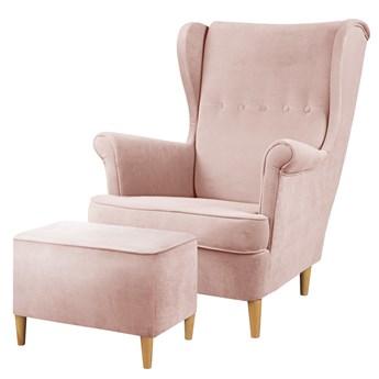SELSEY Fotel z podnóżkiem Malmo różowy w tkaninie Easy Clean