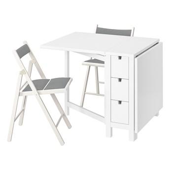 IKEA NORDEN / TERJE Stół i 2 składane krzesła, biały/Knisa biały/jasnoszary, 26/89/152 cm