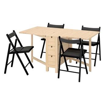 IKEA NORDEN / TERJE Stół i 4 krzesła, składany brzoza/Knisa czarny, 26/89/152 cm