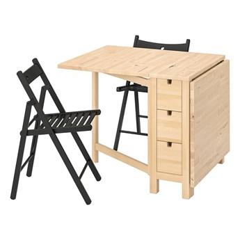 IKEA NORDEN / TERJE Stół i 2 składane krzesła, brzoza/czarny, 26/89/152 cm