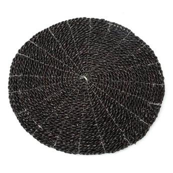 Zestaw 2 sztuki okrągła dekoracyjna czarna podkładka stołowa z trawy morskiej BAZAR BIZAR