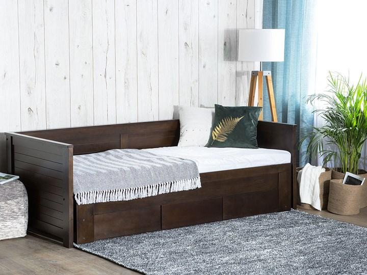 Łóżko brązowe drewniane 90/180 x 200 cm ze stelażem wysuwane dodatkowe łóżko 3 szuflady skandynawskie Drewno Rozmiar materaca 180x200 cm Rozmiar materaca 90x200 cm