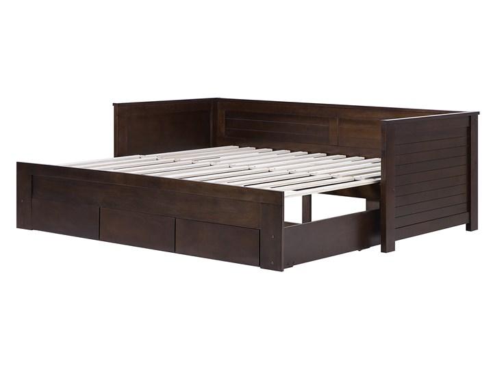 Łóżko brązowe drewniane 90/180 x 200 cm ze stelażem wysuwane dodatkowe łóżko 3 szuflady skandynawskie Drewno Kolor Brązowy