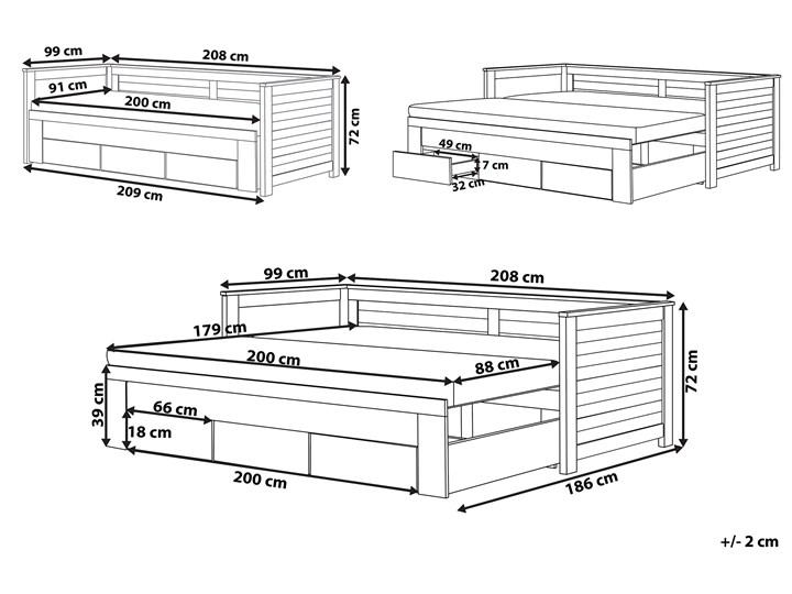 Łóżko brązowe drewniane 90/180 x 200 cm ze stelażem wysuwane dodatkowe łóżko 3 szuflady skandynawskie Drewno Kolor Brązowy Liczba miejsc Jednoosobowe