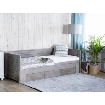 Łóżko szare drewniane 90/180 x 200 cm ze stelażem wysuwane dodatkowe łóżko 3 szuflady skandynawskie