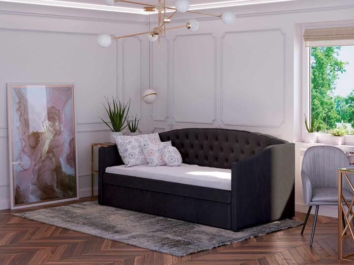 Łóżko podwójne rozkładane 90x200 / 90x195 D031 czarny welur Drewno Rozmiar materaca 90x200 cm
