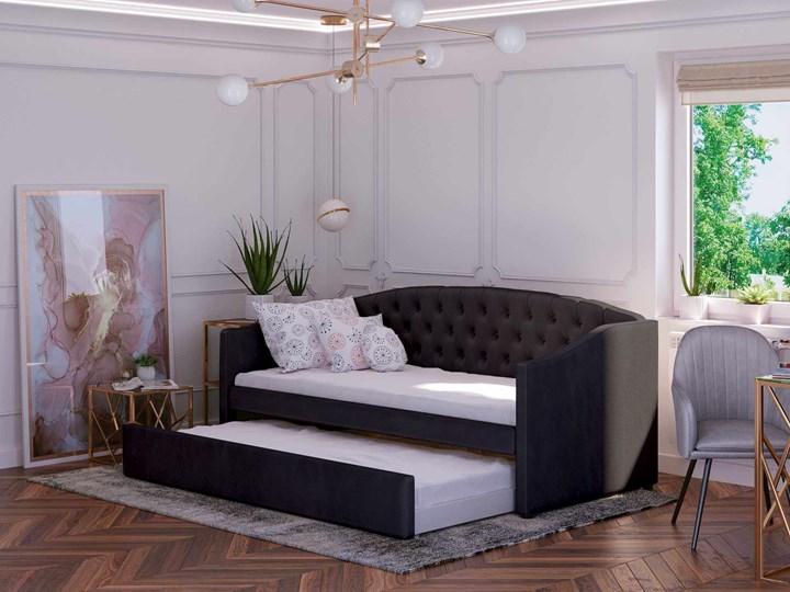 Łóżko podwójne rozkładane 90x200 / 90x195 D031 czarny welur Rozmiar materaca 90x200 cm Drewno Kategoria Łóżka dla dzieci