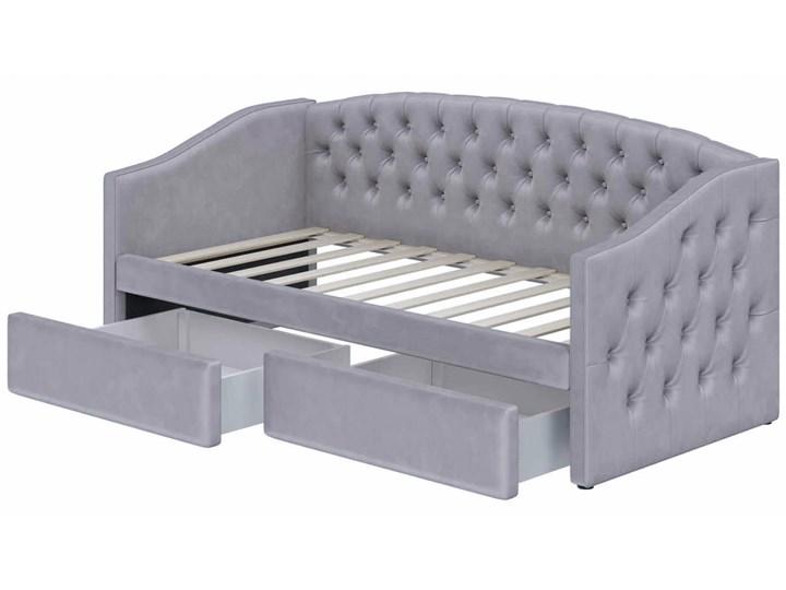 Łóżko tapicerowane rozkładane 90X200 D032 szary welur Rozmiar materaca 100x210 cm Tkanina Płyta MDF Drewno Rozmiar materaca 90x200 cm