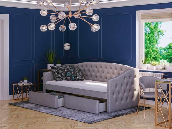 Łóżko tapicerowane rozkładane 90X200 D032 szary welur Płyta MDF Drewno Tkanina Rozmiar materaca 90x195 cm