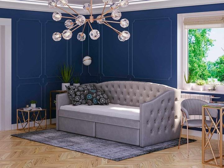 Łóżko tapicerowane rozkładane 90X200 D032 szary welur Tkanina Płyta MDF Drewno Rozmiar materaca 90x195 cm