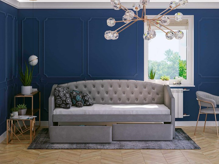 Łóżko tapicerowane rozkładane 90X200 D032 szary welur Rozmiar materaca 90x195 cm Tkanina Płyta MDF Drewno Rozmiar materaca 100x210 cm