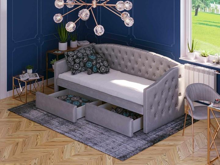 Łóżko tapicerowane rozkładane 90X200 D032 szary welur Płyta MDF Drewno Tkanina Rozmiar materaca 100x210 cm