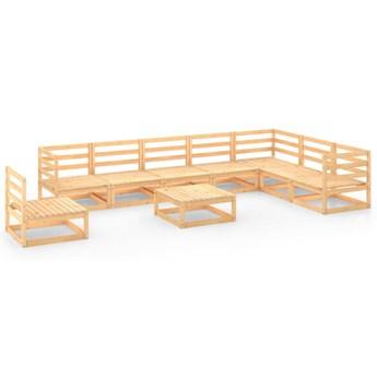 vidaXL 9-cz. zestaw mebli ogrodowych, lite drewno sosnowe