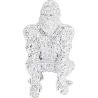 Dekoracja stojąca Shiny Gorilla 50x80 cm srebrna