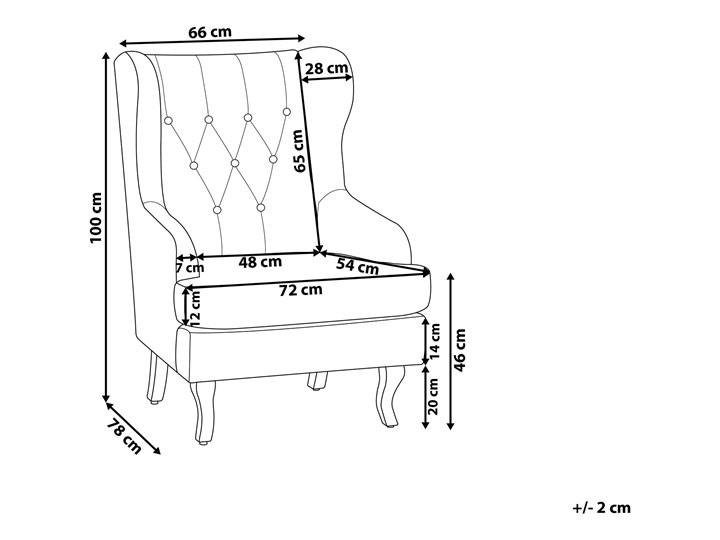 Fotel uszak beżowy tapicerowany pikowany wysokie oparcie vintage retro salon Szerokość 66 cm Drewno Wysokość 100 cm Tkanina Fotel tradycyjny Głębokość 78 cm Fotel pikowany Tworzywo sztuczne Styl Klasyczny