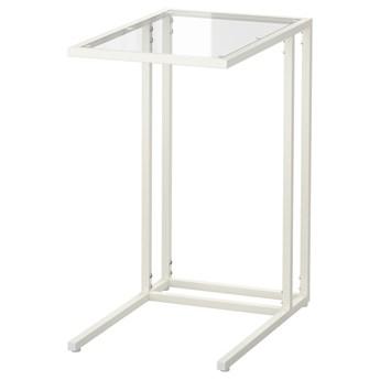 IKEA VITTSJÖ Stolik pod laptopa, Biały/szkło, 35x65 cm