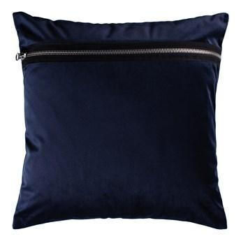 SELSEY Poduszka dekoracyjna Sylvanca w tkaninie EASY CLEAN 45x45 cm granatowa z zamkiem ozdobnym