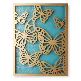 SELSEY Dekoracja ścienna Farfalla turkusowo-złoty