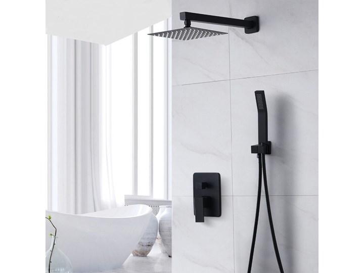 Czarny zestaw prysznicowy podtynkowy Wyposażenie Z słuchawką