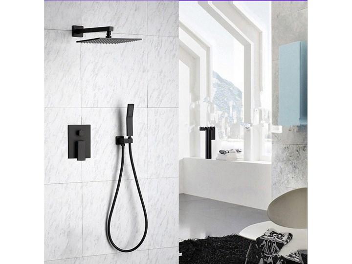 Czarny zestaw prysznicowy podtynkowy Wyposażenie Z deszczownicą