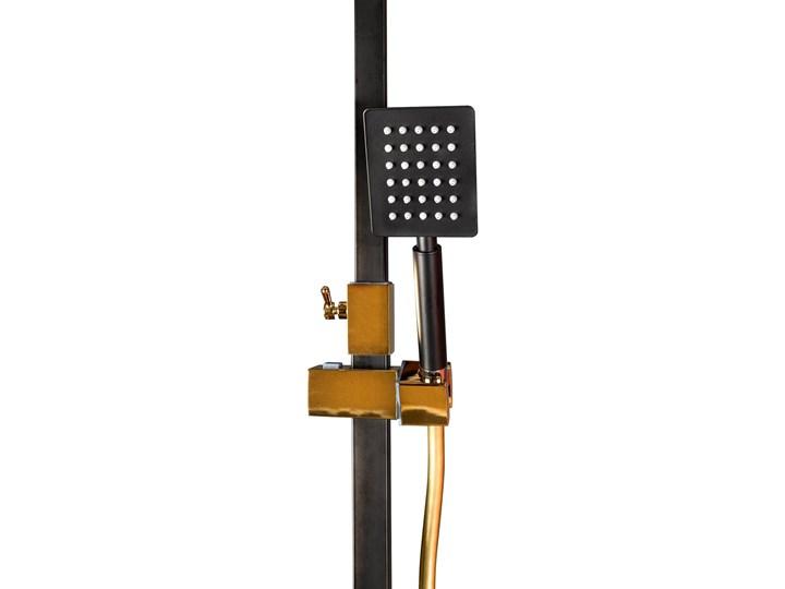 Czarno Złoty zestaw prysznicowy z termostatem Wyposażenie Z słuchawką Kolor Czarny