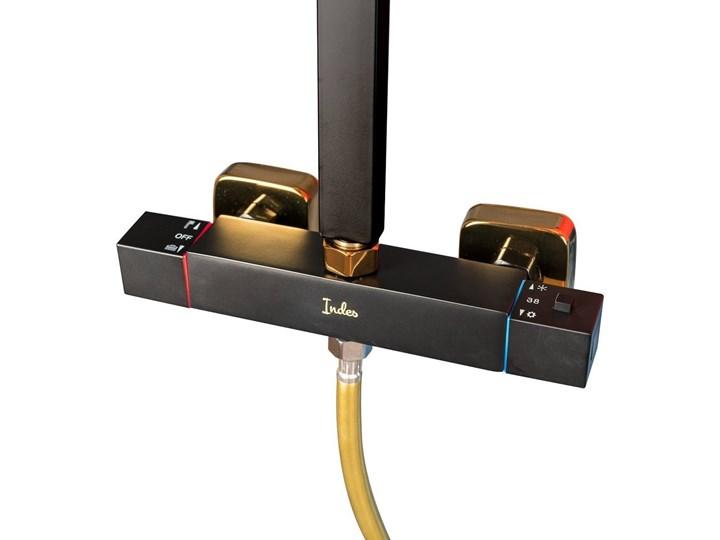 Czarno Złoty zestaw prysznicowy z termostatem Kolor Czarny