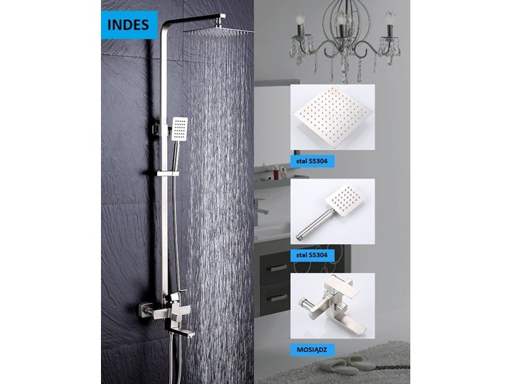 Srebrny chrom zestaw prysznicowy deszczownica Kategoria Zestawy prysznicowe